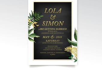 Tropical Botanical Wedding Invite PDF . Miami Beach Cuba Eucalyptus Leaf Garland Vine Fern Dandelion Gold & Black Chalkboard Shower New Year