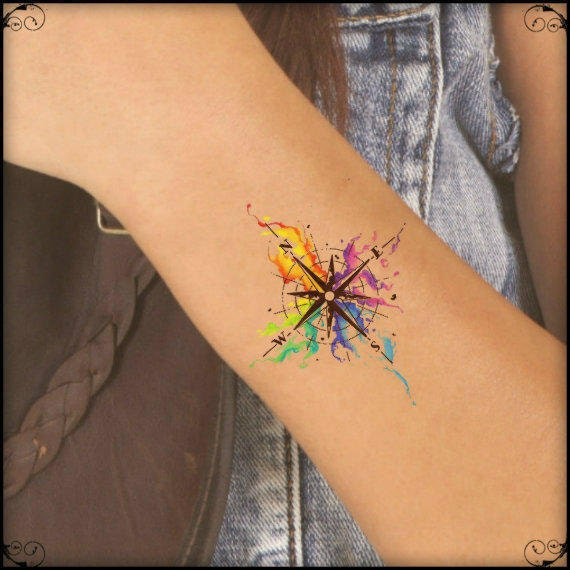 Temporary Tattoo Watercolor Compass Ultra Thin Realistic