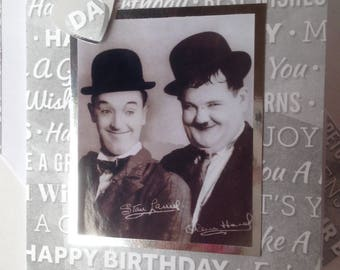 LAUREL AND HARDY birthday Greetings Card handmade comedy duo Happy Birthday Just for you greetings card  A6/C6 size