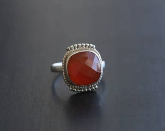 Carnelian Ring Cushion Faceted , Carnelian Ring, Silver ring, US 7, Cut stone ring, Faceted Carnelien