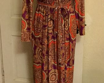 Vintage 1960s Long Hippie Dress - Large Colorful Paisley Print -  Purples, Oranges, Green, Brown and more -  Size Small Medium