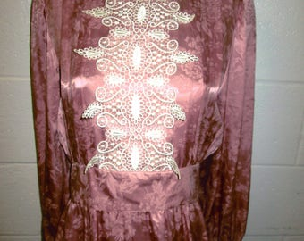 Pink Prairie cream lace silky floral long gown victorian  dress size s/m