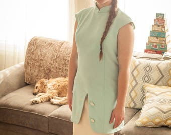 Lovely Two-tone Vintage One Piece Teal/Cream Dress