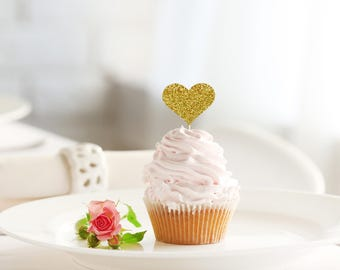 HEART glitter cupcake topper set of 12 - birthday / bridal shower / engagement / wedding / baby shower / party decoration