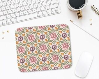 Star Mousepad, Geometric Design Mousepad Gift, Printed Mouse Pad, Pattern Mouse Pad, Pink Mouse Pad, Office Mouse Pad