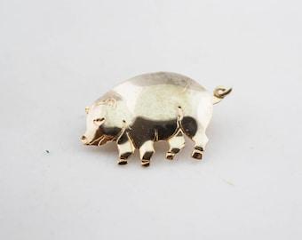 Vintage Gold Tone Little Pig Pin Brooch