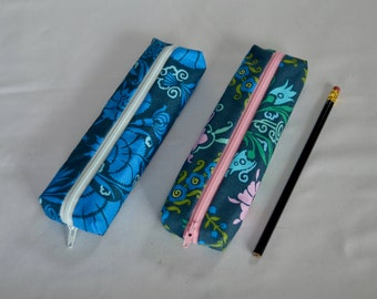 Blue Modern Floral Print Zippered Pencil Pouch - Pencil Case