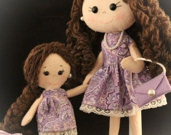 Mother and Daughter Felt dolls