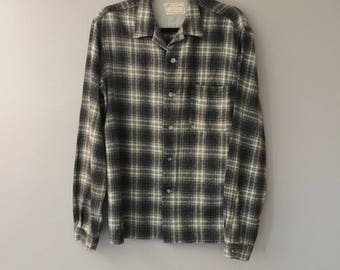 Vintage Flannel Shirt Womens - Vintage Flannel Woman - Grey Gray Large 50s 1950s