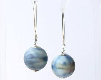 sky earrings, storm earrings, spherical earrings, sky earrings, STORMY SKIES, sterling silver kidney wires