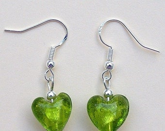 Green Glass Love Heart Earrings with Sterling Silver Hooks New Drops LB69