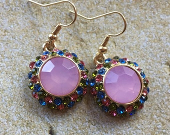 Pink Rhinestone Earrings, Gift Ideas, For Her, Jewelry, Earrings
