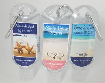 Personalized Wedding 2oz Clip Hand Sanitizer Party Favor Beach Theme Destination Wedding Hand Sanitizer Favor Custom Design Waterpoof Label