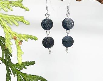 Sterling silver earrings, blue fire agate, Silver ear hook earrings, beaded earrings, silver earrings, navy earrings, gemstone earrings