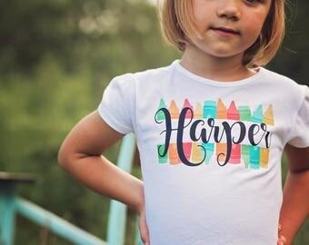 Back to School Shirt - Back to School Outfit - First Day of School Shirt - Personalized School Shirt - Crayons - Kindergarten - Preschool