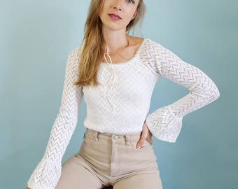 90s White lace Blouse with Flared Sleeves!