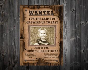 Western Cowboy BirthdayParty Photo Invitation