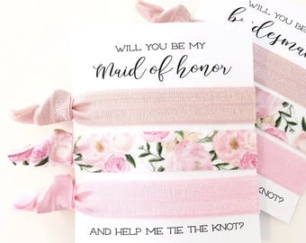 Bridesmaid Proposal Gift | Blush Pink Floral Hair Tie Set, Maid of Honor Proposal, Bridal Party Proposal Hair Tie Cards, Light Pink Peonies