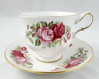 Queen Anne Pink and Red Rose Tea Cup and Saucer, Vintage Bone China