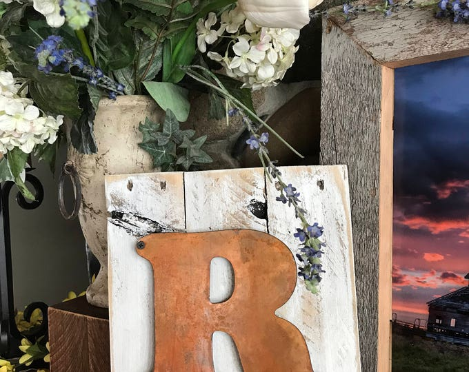 Family Initial Sign, Letter Sign, Rustic Monogram Sign, Farmhouse Nursery decor, Wedding Decor or Gift, Metal name Letter, Fixer Upper style