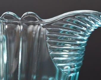 1950s Blue Glass Jug Vintage Glass Water Pitcher Art Deco Glass Jug