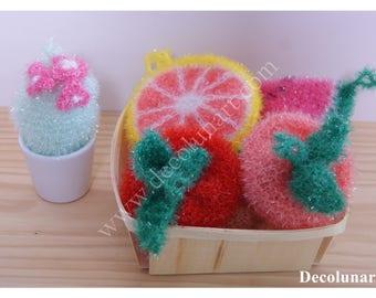 Zéro déchet avec ces  éponges écologiques lavables fantaisies, colorées, vitaminées