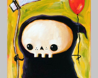 The Short-Lived Balloon - funny Lil' Grim Reaper Print