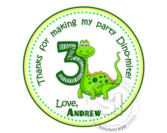 "Custom cute Dinosaur Printable 2.5"" Tags-Personalized Thank you Birthday 2.5 inches Tags- Stickers,DIY Digital File-Party Favor Tags"