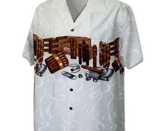 Premium Quality Cigars White Pacific Legend Hawaiian Aloha Shirt 440-3866