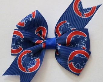 Chicago Cubs Hair Bow, Chicago Cubbies Hair Bow, Cubs Hair Bow, Toddler Cubs Hair Bow, Cubs Bow, Mini Cubs Bow, Girls Hair Bow,