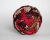 "Dyed to Order:  ""Letters to Santa (self-striping)"" - Tan, Woodsy Brown, Deep Red, Wine stripes"