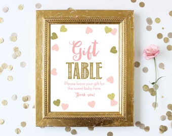 Gift Table Baby Shower Sign . Pink and Gold . Printable 8x10 Sign . Pink and Gold . Baby Shower Girl . Pink and Gold Girl . Instant Download