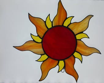 """Brilliant yellow, red and gold handmade stained glass """"sun"""" sun catcher-Gift idea-House warming-Under 30-Window Decor"""