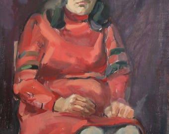 Vintage oil painting Female Portrait signed