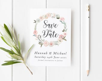 Pretty Save The Date Card, Summery Save The Date, Pretty Wedding Invite, Pretty Wreath Save Our Date Card, Summer Watercolor Save The Date