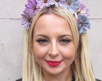 Grey Lilac Purple Daisy Flower Garland Headband Festival Hair Crown Boho 3463