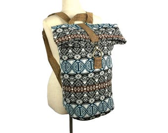 Sac à dos Hippie Backpack, Foldover Duffle Backpack, Canvas Rucksack for Men Women, Aztec Sack Bag, Festival Duffel Backpack, Beach backpack