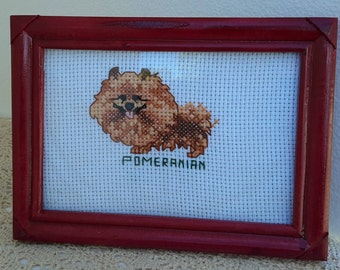 Cross stitch Pomeranian, framed, by 3LittleCraftersAreWe
