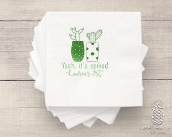 Cactus Party   Customizable Cocktail Napkins   Birthday, Wedding, Engagement Bridal Parties or Baby Shower   social graces and Co
