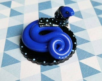 Blue Snake Figurine with a Polka Dot Scarf (M): Medium, Handmade Animal Reptile Gift.