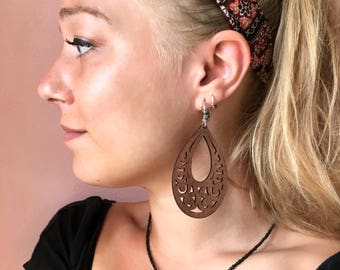 Bohemian wood earrings - Mahogany brown wooden bohemian teardrop earrings