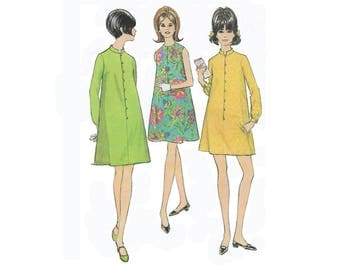 Vintage 1960s misses dress pattern, McCalls 8761, size 13, A-line, loose fit, front close, sleeveless or long sleeves, PREVIOUSLY CUT