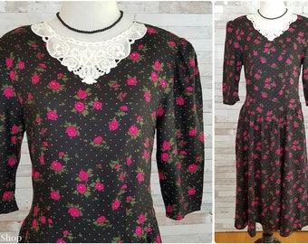 Black dress with white dots and hot pink flowers and white lace collar - Medium