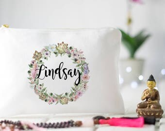Gifts for girlfriends bohemian wedding rustic boho style personalized bridesmaid gift custom zipper pouch wedding bridal shower makeup case