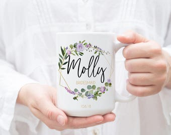 Personalized Bridesmaid Coffee Mug, Bridesmaid Proposal, Bachelorette Party, Will You Be My Bridesmaid, Maid of Honor Gift, Purple Lavender