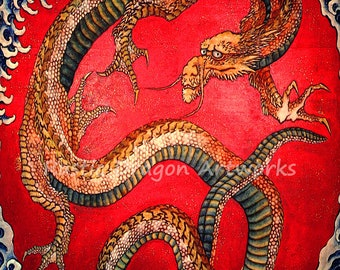 "Katsushika Hokusai ""Dragon"" 1700's Reproduction Digital Print Mythological Allegories"