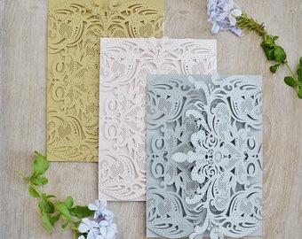 DIY Exquisite Laser Cut Gatefold Invitation - Laser Cut Wedding Invitations - Elegant Invitations - Lace Paper Invite -More Colors Available
