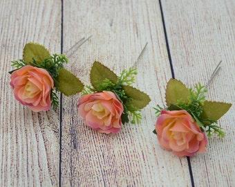Flower hair pins Wedding hair pin Bridal hair pin Flower hair accessories Set of 3 hair pins Flower girl hair pin Rose hair pin set