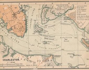 1893 Charleston South Carolina Antique Map