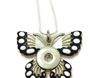 Snap Jewelry, Snap Necklace, Butterfly Snap Necklace, Snap Button Necklace Fits All Standard 18mm Snap Buttons and Snap Charms